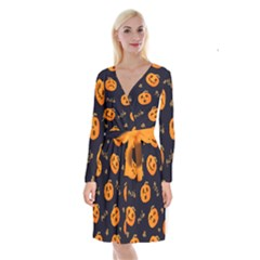 Funny Scary Black Orange Halloween Pumpkins Pattern Long Sleeve Velvet Front Wrap Dress