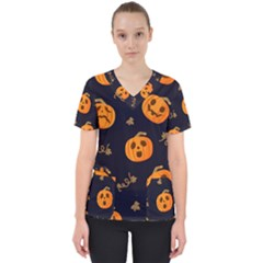 Funny Scary Black Orange Halloween Pumpkins Pattern Women s V Neck Scrub Top