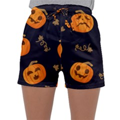 Funny Scary Black Orange Halloween Pumpkins Pattern Sleepwear Shorts