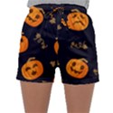 Funny Scary Black Orange Halloween Pumpkins Pattern Sleepwear Shorts View1
