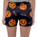 Funny Scary Black Orange Halloween Pumpkins Pattern Sleepwear Shorts View2