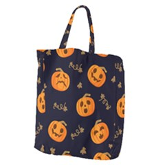 Funny Scary Black Orange Halloween Pumpkins Pattern Giant Grocery Tote