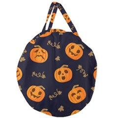 Funny Scary Black Orange Halloween Pumpkins Pattern Giant Round Zipper Tote