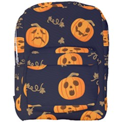 Funny Scary Black Orange Halloween Pumpkins Pattern Full Print Backpack