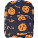 Funny Scary Black Orange Halloween Pumpkins Pattern Full Print Backpack View1