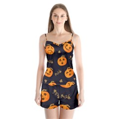 Funny Scary Black Orange Halloween Pumpkins Pattern Satin Pajamas Set