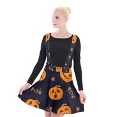 Funny Scary Black Orange Halloween Pumpkins Pattern Suspender Skater Skirt
