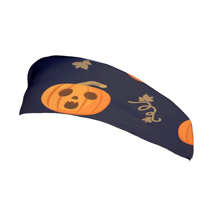 Funny Scary Black Orange Halloween Pumpkins Pattern Stretchable Headband