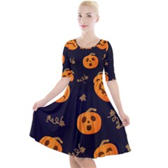Funny Scary Black Orange Halloween Pumpkins Pattern Quarter Sleeve A Line Dress