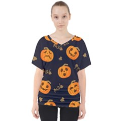 Funny Scary Black Orange Halloween Pumpkins Pattern V Neck Dolman Drape Top