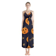 Funny Scary Black Orange Halloween Pumpkins Pattern Button Up Chiffon Maxi Dress
