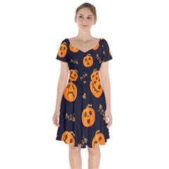 Funny Scary Black Orange Halloween Pumpkins Pattern Short Sleeve Bardot Dress