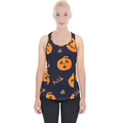 Funny Scary Black Orange Halloween Pumpkins Pattern Piece Up Tank Top