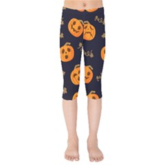 Funny Scary Black Orange Halloween Pumpkins Pattern Kids  Capri Leggings