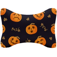 Funny Scary Black Orange Halloween Pumpkins Pattern Seat Head Rest Cushion