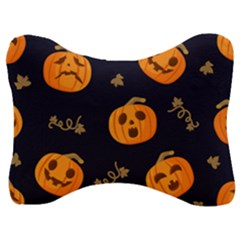 Funny Scary Black Orange Halloween Pumpkins Pattern Velour Seat Head Rest Cushion