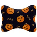 Funny Scary Black Orange Halloween Pumpkins Pattern Velour Seat Head Rest Cushion View1