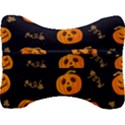 Funny Scary Black Orange Halloween Pumpkins Pattern Velour Seat Head Rest Cushion View2