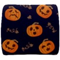 Funny Scary Black Orange Halloween Pumpkins Pattern Back Support Cushion View1