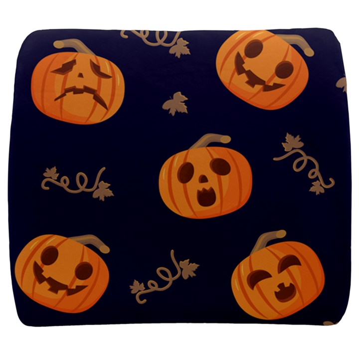 Funny Scary Black Orange Halloween Pumpkins Pattern Back Support Cushion