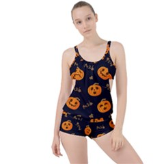 Funny Scary Black Orange Halloween Pumpkins Pattern Boyleg Tankini Set