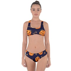 Funny Scary Black Orange Halloween Pumpkins Pattern Criss Cross Bikini Set