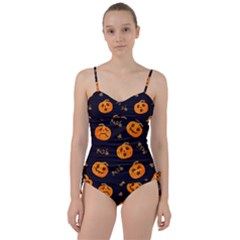 Funny Scary Black Orange Halloween Pumpkins Pattern Sweetheart Tankini Set