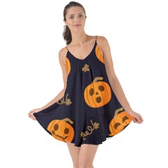 Funny Scary Black Orange Halloween Pumpkins Pattern Love The Sun Cover Up