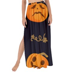 Funny Scary Black Orange Halloween Pumpkins Pattern Maxi Chiffon Tie Up Sarong