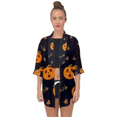 Funny Scary Black Orange Halloween Pumpkins Pattern Open Front Chiffon Kimono