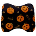 Funny Scary Black Orange Halloween Pumpkins Pattern Velour Head Support Cushion View1