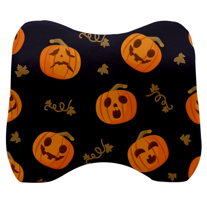 Funny Scary Black Orange Halloween Pumpkins Pattern Velour Head Support Cushion