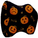 Funny Scary Black Orange Halloween Pumpkins Pattern Velour Head Support Cushion View3