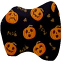 Funny Scary Black Orange Halloween Pumpkins Pattern Velour Head Support Cushion View4