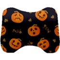 Funny Scary Black Orange Halloween Pumpkins Pattern Head Support Cushion View1