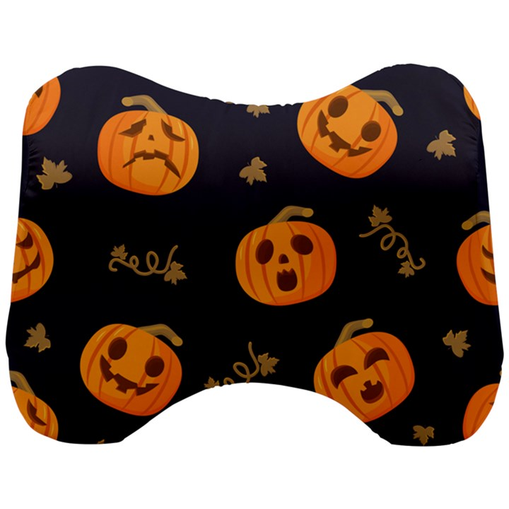 Funny Scary Black Orange Halloween Pumpkins Pattern Head Support Cushion