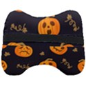 Funny Scary Black Orange Halloween Pumpkins Pattern Head Support Cushion View2