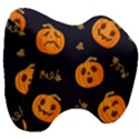 Funny Scary Black Orange Halloween Pumpkins Pattern Head Support Cushion View3
