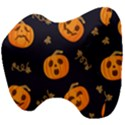 Funny Scary Black Orange Halloween Pumpkins Pattern Head Support Cushion View4