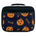 Funny Scary Black Orange Halloween Pumpkins Pattern Lunch Bag View1