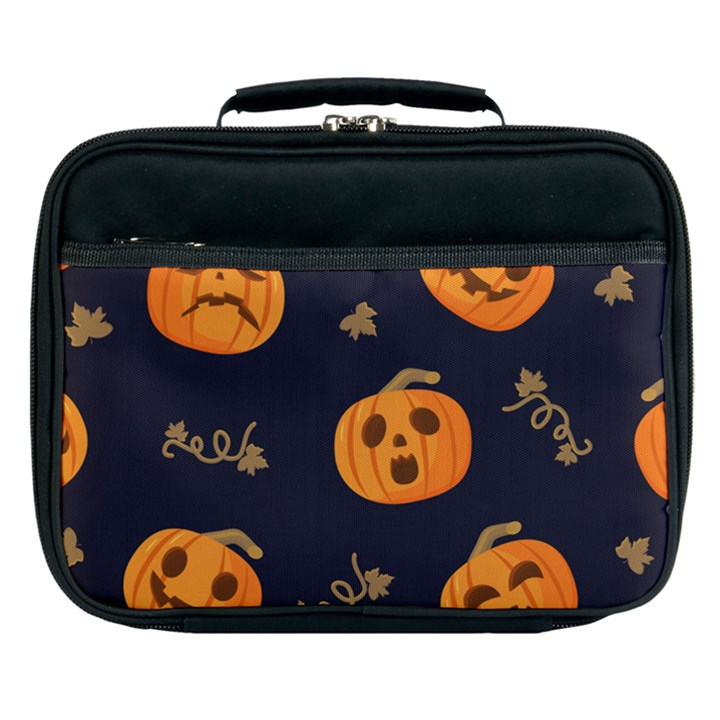 Funny Scary Black Orange Halloween Pumpkins Pattern Lunch Bag