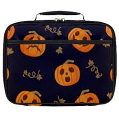 Funny Scary Black Orange Halloween Pumpkins Pattern Full Print Lunch Bag