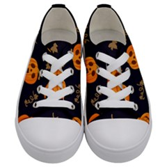 Funny Scary Black Orange Halloween Pumpkins Pattern Kids  Low Top Canvas Sneakers
