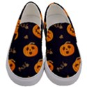 Funny Scary Black Orange Halloween Pumpkins Pattern Men s Canvas Slip Ons View1
