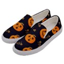 Funny Scary Black Orange Halloween Pumpkins Pattern Men s Canvas Slip Ons View2