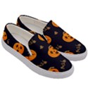Funny Scary Black Orange Halloween Pumpkins Pattern Men s Canvas Slip Ons View3