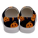 Funny Scary Black Orange Halloween Pumpkins Pattern Men s Canvas Slip Ons View4
