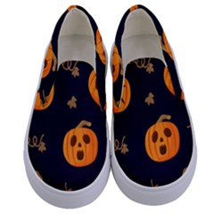 Funny Scary Black Orange Halloween Pumpkins Pattern Kids  Canvas Slip Ons