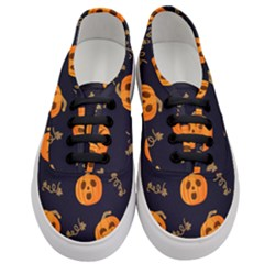 Funny Scary Black Orange Halloween Pumpkins Pattern Women s Classic Low Top Sneakers