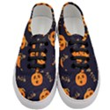 Funny Scary Black Orange Halloween Pumpkins Pattern Women s Classic Low Top Sneakers View1